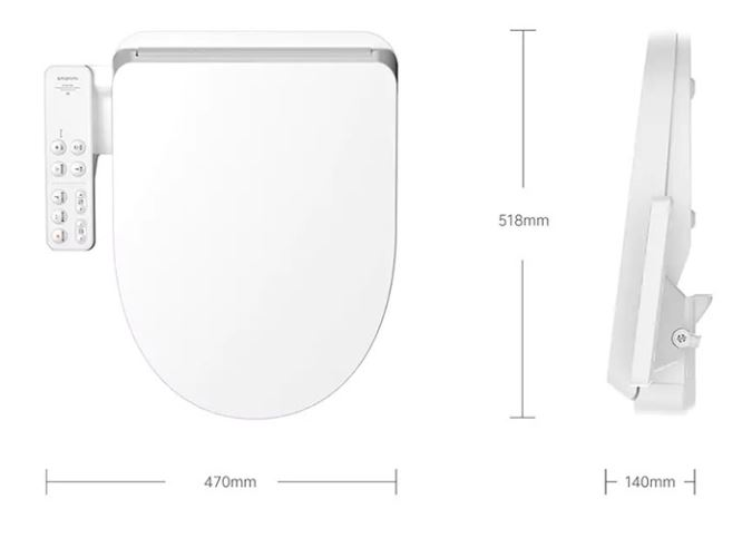 smartmi intelligent bidet seat dimensiones